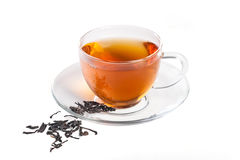 Black tea in the transparent cup Royalty Free Stock Photo