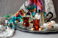 Black tea Turkish cups Stock Photo