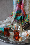 Black tea Turkish cups Stock Photography