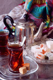 Black tea Turkish cups. With sweetness Stock Photos