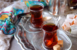 Black tea Turkish cups Stock Image