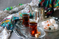 Black tea Turkish cups Royalty Free Stock Photos