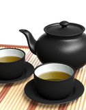 Black teapot and teacups Royalty Free Stock Image