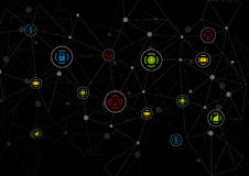 Black tech background with communication icons. Black abstract background with communication icons. Vector dark network design. Colorful teamwork icons Royalty Free Stock Photography