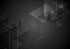 Black tech background with triangles shape Stock Image