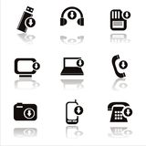 Black technology with arrows icons Stock Photo