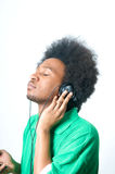 Black Teenager listen to music Royalty Free Stock Photos
