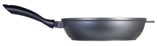 Black Teflon pan. Isolated on white background Stock Photo