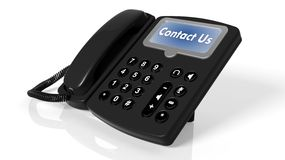 Black telephone with Contact Us on screen Royalty Free Stock Image