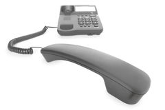 Black telephone with receiver Royalty Free Stock Images