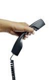 Black telephone receiver on white background Royalty Free Stock Image
