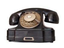 Black telephone three. Vintage black telephone on white background Royalty Free Stock Photos