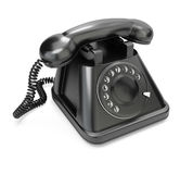 Black telephone. On white background. 3d render Stock Images