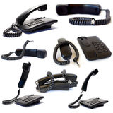 Black telephones Stock Photos