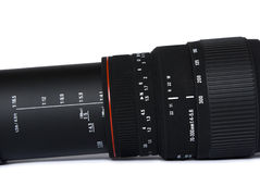 Black telephoto lens. Scale on black telephoto lens Stock Image