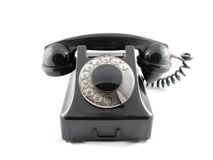 Black telepone. It is a old black telephone Stock Photo