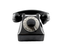 Black telepone. It is a old black telephone Stock Photos