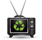 Black television with recycle symbol Stock Images