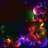 Black template with bright color circles Royalty Free Stock Photos