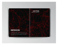 Black template of brochure with abstract red particles Royalty Free Stock Photography