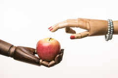 Black temptation with red apple for white woman Stock Photography