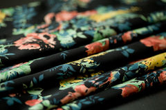 Black tender colored textile, elegance rippled material Stock Photography