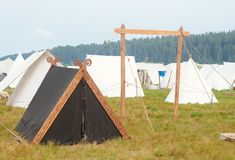 Black tent in nature tent city royalty free stock photography