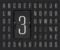 Airport flip board alphabet for flight departure or arrival information showing. Vector illustration. Black terminal mechanical scoreboard font with numbers to stock illustration