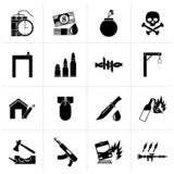 Black terrorism and gangster equipment icons. Vector icon set stock illustration