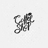 Black Text Design for Coffee Shop Concept Stock Photos