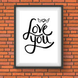 Black Text Design for Love You Concept on a Frame Stock Photography