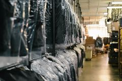Black Textiles in Clear Plastic Bag Stock Image