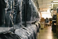 Black Textiles in Clear Plastic Bag Royalty Free Stock Photography