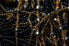 Black texture of beads. macro photo. stock images