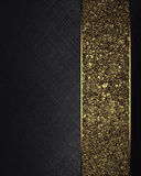 Black texture with gold ribbon. Element for design. Template for design. copy space for ad brochure or announcement invitation, ab Royalty Free Stock Image