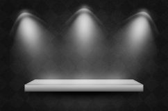 Black texture scene or background. With spotlight and empty shelf Stock Photography