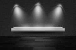 Black texture scene or background. With spotlight and empty shelf Royalty Free Stock Images