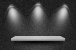 Black texture scene or background. With spotlight and empty shelf Stock Images