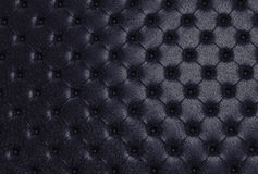 The black texture of the skin quilted sofa Stock Image