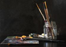 Working set of the painter with oil paints royalty free stock images