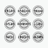 Black textured line stamps set with some wise positive messages Stock Photo