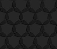 Black textured plastic abstract leaves forming triangles Royalty Free Stock Photo