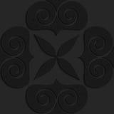 Black textured plastic big solid swirly hearts Stock Photo