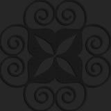 Black textured plastic big swirly hearts Stock Photos