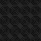 Black textured plastic simple striped hexagons in row Royalty Free Stock Photos