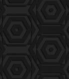 Black textured plastic striped hexagons Stock Photos