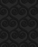 Black textured plastic swirly hearts in grid Royalty Free Stock Images