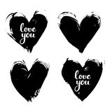Black textured smears heart shapes with love you calligraphic Stock Photography