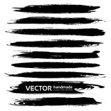 Black textured thick long smears vector objects Stock Photo