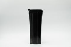 Black thermos bottle isolated Stock Image
